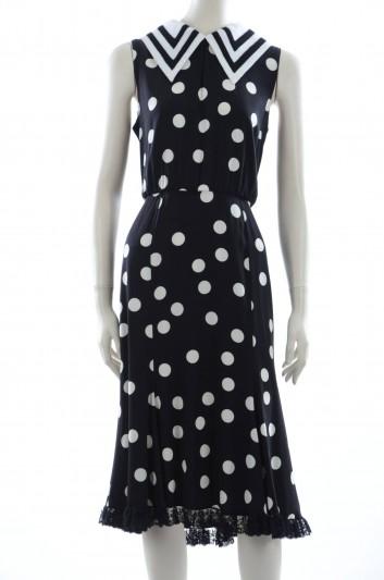 Dolce & Gabbana Women Navy With Dots Midi Dress - F63D6T FSAR2