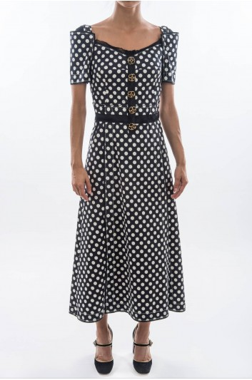 Dolce & Gabbana Women Jewel Buttons Midi Dress - F63D1Z FSFCE