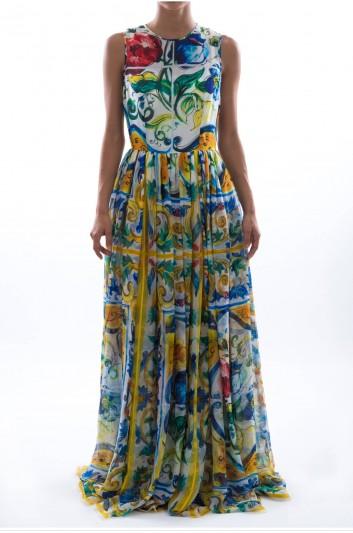 Dolce & Gabbana Women Print Maiolica In Silk Chiffon Long Dress - F6ZY0T HP14L