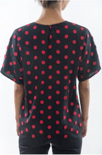 Dolce & Gabbana Camiseta Tul Manga Corta Mujer - F7M90T G7CAK