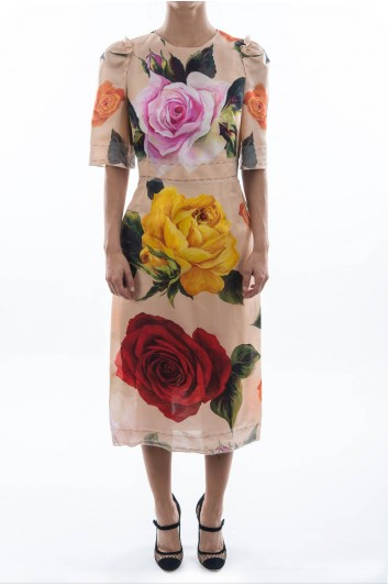 Dolce & Gabbana Women Roses Print Midi Dress - F64X0T HS1MJ