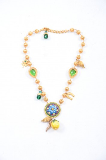 Dolce & Gabbana Women Brass Maiolica Lemon Necklace - WNK4L1 W1111
